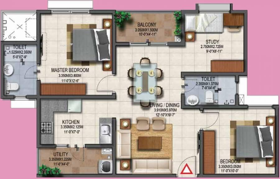 1140 sqft, 3 bhk Apartment in Provident Adora De Goa 2 Park Residences Around The Blu Vasco Da Gama, Goa at Rs. 0