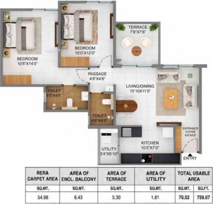 591.8 sqft, 2 bhk Apartment in Shapoorji Pallonji Joyville Hinjawadi Hinjewadi, Pune at Rs. 0