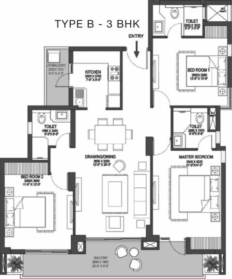 1625 sqft, 3 bhk Apartment in Godrej Meridien Sector 106, Gurgaon at Rs. 0