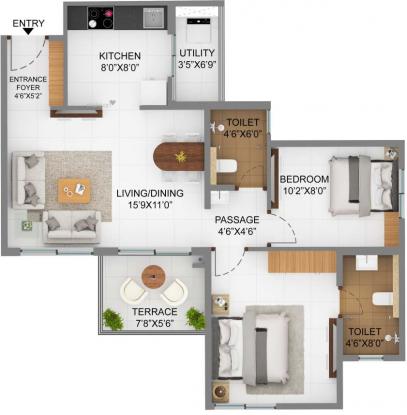 655.64 sqft, 2 bhk Apartment in Shapoorji Pallonji Joyville Hinjawadi Hinjewadi, Pune at Rs. 0