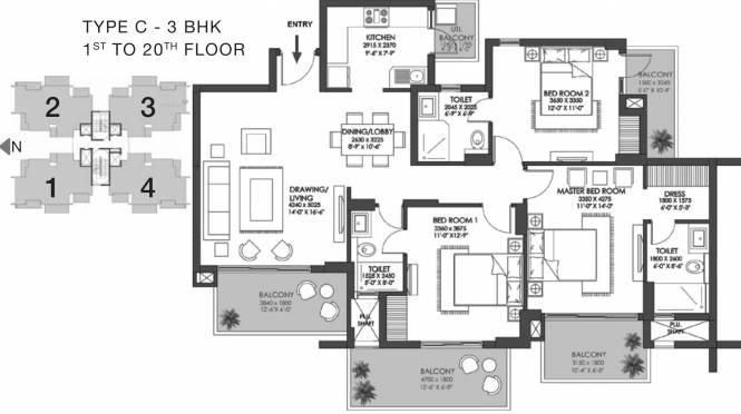 1108.36 sqft, 3 bhk Apartment in Godrej Meridien Sector 106, Gurgaon at Rs. 0
