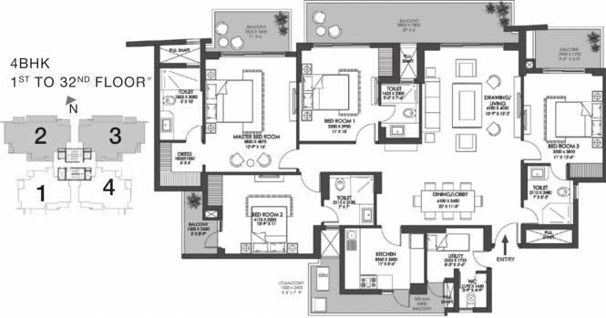 1657.1 sqft, 4 bhk Apartment in Godrej Meridien Sector 106, Gurgaon at Rs. 0