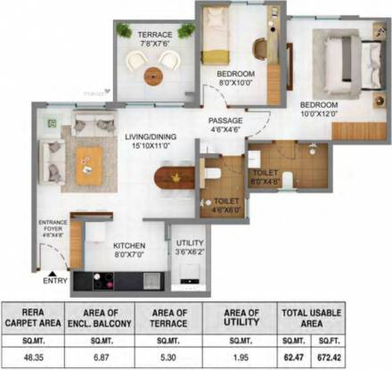 520.44 sqft, 2 bhk Apartment in Shapoorji Pallonji Joyville Phase 2 Hinjewadi, Pune at Rs. 0