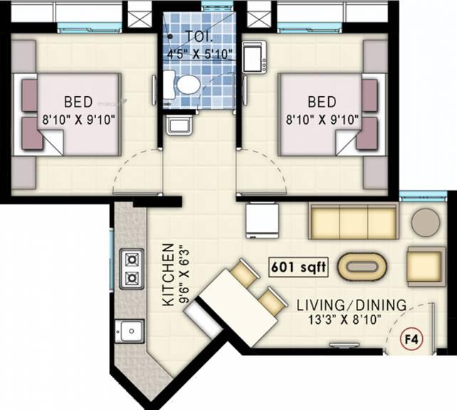 601 sqft, 2 bhk Apartment in Navin Starwood Towers 2 Vengaivasal, Chennai at Rs. 0