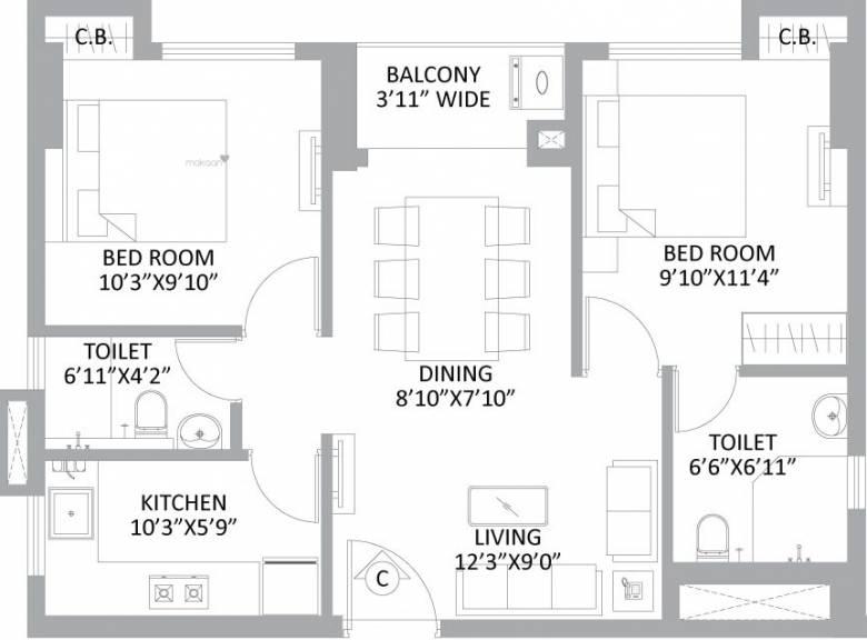 569 sqft, 2 bhk Apartment in PS Amistad New Town, Kolkata at Rs. 0