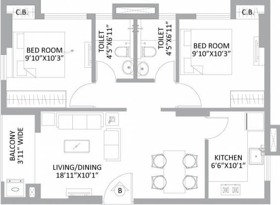 581 sqft, 2 bhk Apartment in PS Amistad New Town, Kolkata at Rs. 0