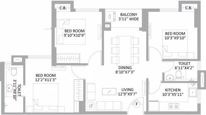 694 sqft, 3 bhk Apartment in PS Amistad New Town, Kolkata at Rs. 0