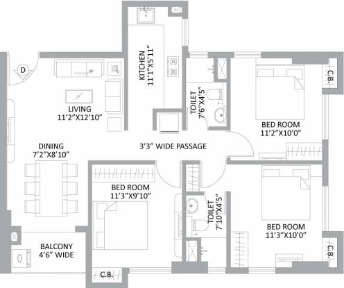 777 sqft, 3 bhk Apartment in PS Amistad New Town, Kolkata at Rs. 0