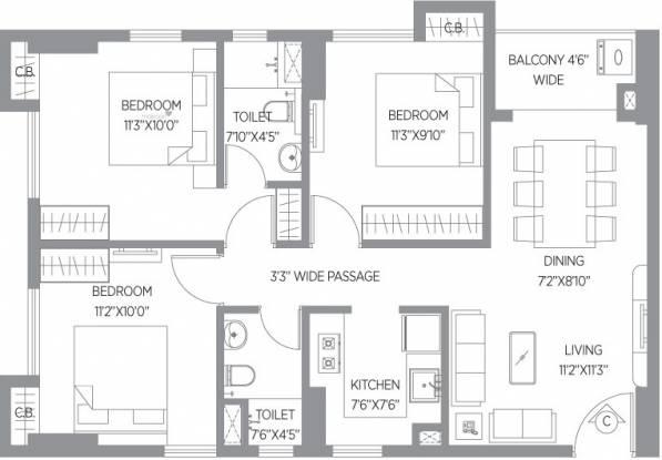 742 sqft, 3 bhk Apartment in PS Amistad New Town, Kolkata at Rs. 0