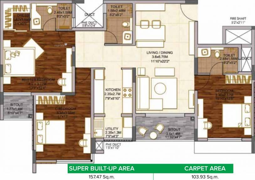 1694.99 sqft, 3 bhk Apartment in Brigade Woods ITPL, Bangalore at Rs. 0