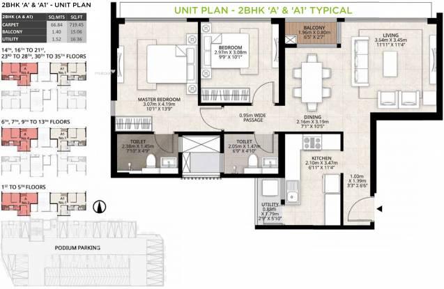 719.46 sqft, 2 bhk Apartment in Mahindra Roots Kandivali East, Mumbai at Rs. 0