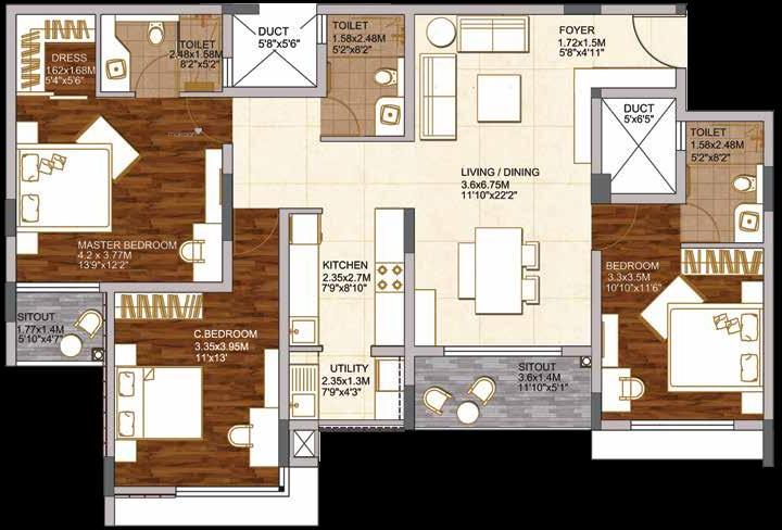 1741 sqft, 3 bhk Apartment in Brigade Woods ITPL, Bangalore at Rs. 0
