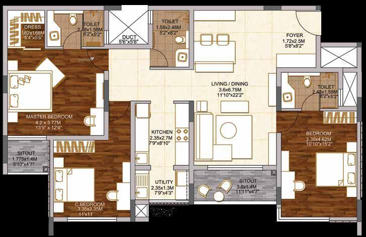 1762 sqft, 3 bhk Apartment in Brigade Woods ITPL, Bangalore at Rs. 0