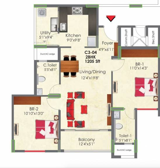 1205 sqft, 2 bhk Apartment in Builder Project Electronic City Phase II, Bangalore at Rs. 77.0000 Lacs