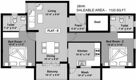 1120 sqft, 2 bhk Apartment in BBCL Ashraya Thoraipakkam OMR, Chennai at Rs. 0
