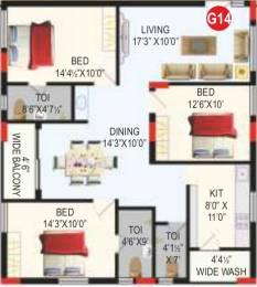 1600 sqft, 3 bhk Apartment in RV Bhaiji Panchajanya Kondapur, Hyderabad at Rs. 0