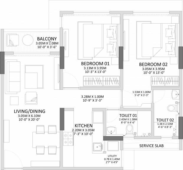 1210 sqft, 2 bhk Apartment in Godrej Prime Chembur, Mumbai at Rs. 0