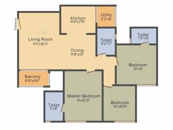 1561 sqft, 3 bhk Apartment in Goyal Orchid Greens Chikkagubbi on Hennur Main Road, Bangalore at Rs. 0