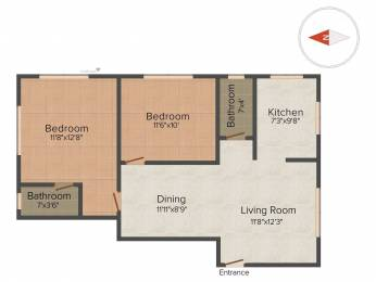 908 sqft, 2 bhk Apartment in Builder Project Madambakkam, Chennai at Rs. 34.5100 Lacs