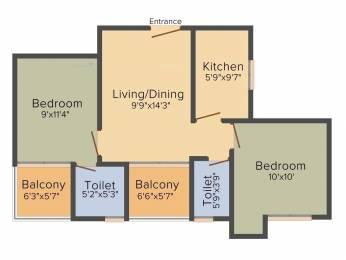 1104 sqft, 2 bhk Apartment in Purti Jewel Tangra, Kolkata at Rs. 51.7550 Lacs
