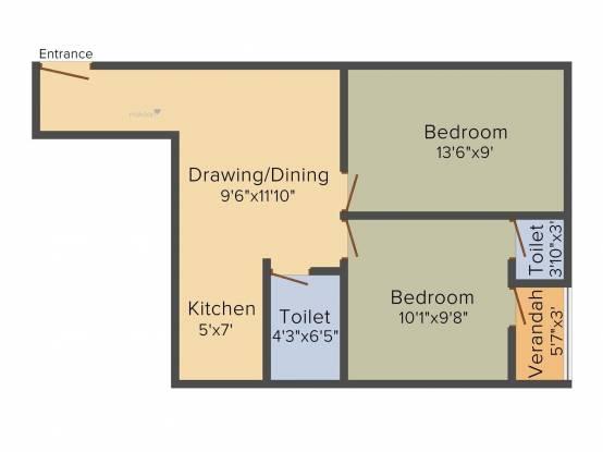 692 sqft, 2 bhk Apartment in Builder Project Barasat, Kolkata at Rs. 15.9160 Lacs