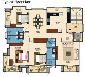 1586 sqft, 3 bhk Apartment in Builder Project Ulsoor, Bangalore at Rs. 2.5000 Cr