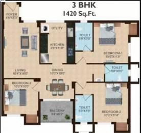 1420 sqft, 3 bhk Apartment in Shriram Joy at Shriram Temple Bells Guduvancheri, Chennai at Rs. 46.0000 Lacs