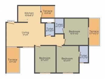 930 sqft, 3 bhk Apartment in Vision Indramegh Tathawade, Pune at Rs. 65.0000 Lacs