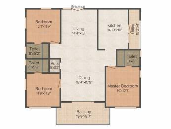 2050 sqft, 3 bhk Apartment in Builder Project Hitech City, Hyderabad at Rs. 1.3325 Cr