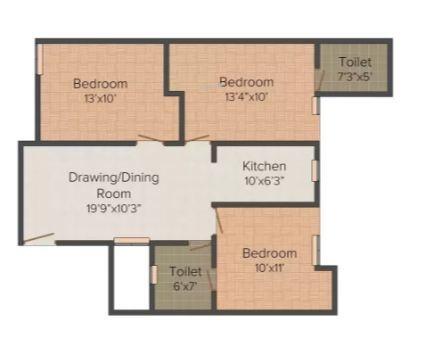 Punit Homes 16 (3BHK+3T (1,100 sq ft) Apartment 1100 sq ft)