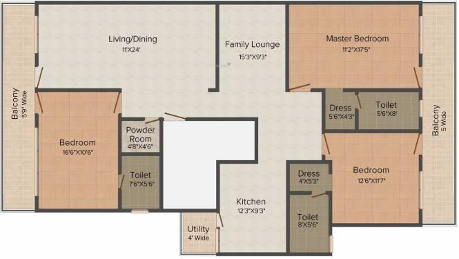 Shri Balaji Rosewood City (3BHK+3T (2,700 sq ft) Apartment 2700 sq ft)