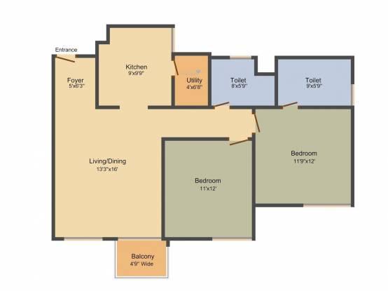 Merlin Elita Garden Vista (2BHK+2T (1,209 sq ft) Apartment 1209 sq ft)