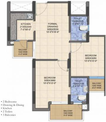 Shri Celebration Residency (2BHK+2T (1065 sq ft) Apartment 1065 sq ft)