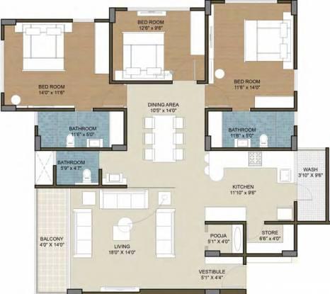 Deep Indraprasth Living (3BHK+3T (1,230.21 sq ft) Apartment 1230.21 sq ft)