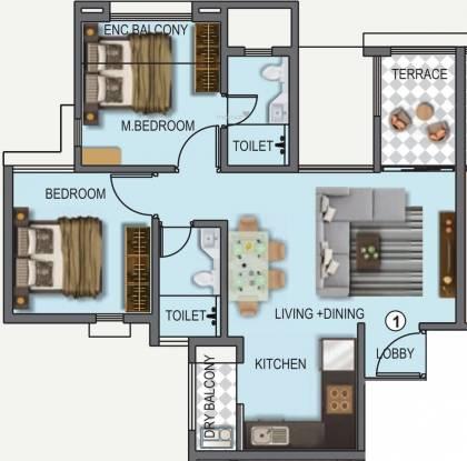 Kunal Iconia Phase V (2BHK+2T (554.45 sq ft) Apartment 554.45 sq ft)