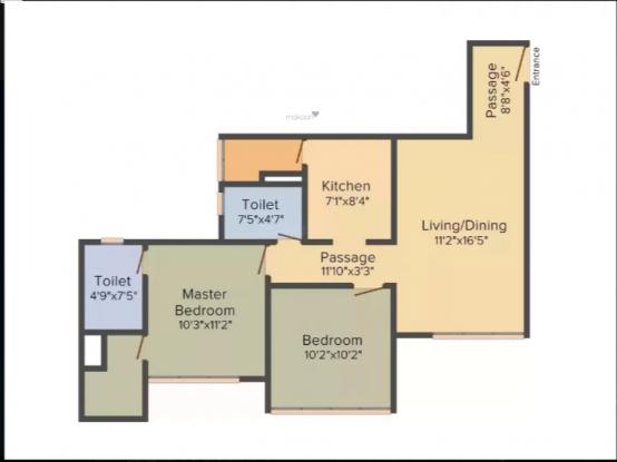 UK Ananta (2BHK+2T (644 sq ft) Apartment 644 sq ft)