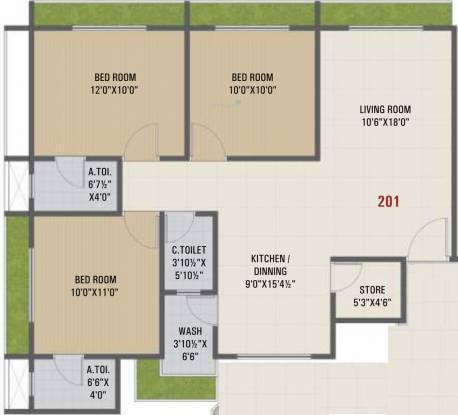 Rudra Shivay Heights (3BHK+3T (819.56 sq ft) Apartment 819.56 sq ft)