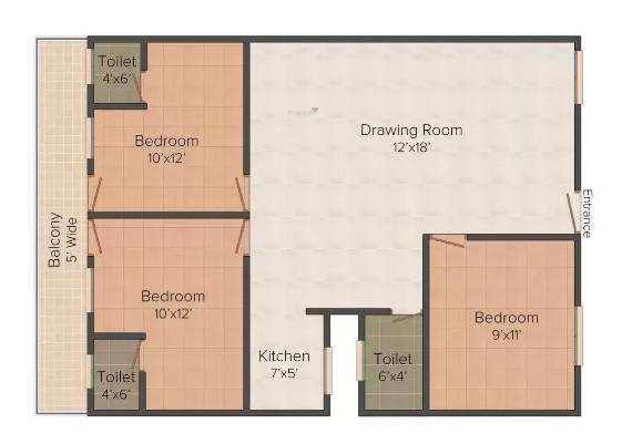 Site 8 (3BHK+3T (1,250 sq ft) Apartment 1250 sq ft)