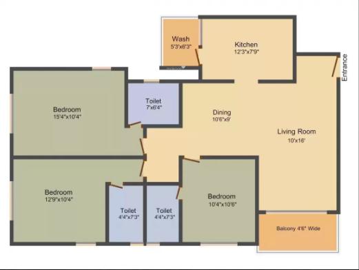Civic Samanvay Residency (3BHK+3T (1,600 sq ft) Apartment 1600 sq ft)