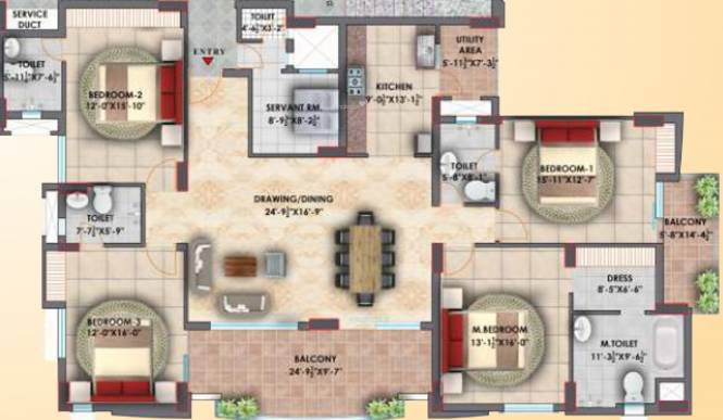 Eiffel Vivassa Estate Phase 2 (4BHK+4T (1,958.49 sq ft) Apartment 1958.49 sq ft)