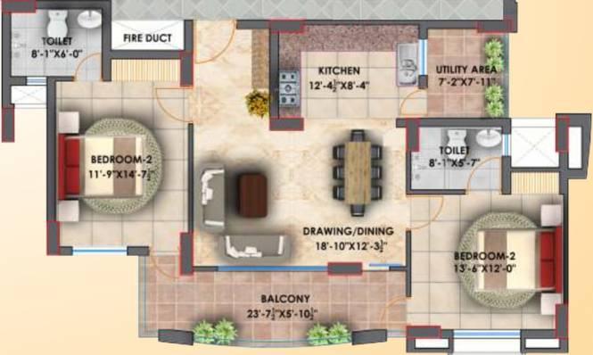 Eiffel Vivassa Estate Phase 1 (2BHK+2T (937.32 sq ft) Apartment 937.32 sq ft)