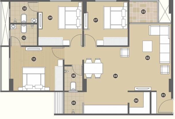 Pramukh Aranya II (3BHK+3T (804.06 sq ft) Apartment 804.06 sq ft)