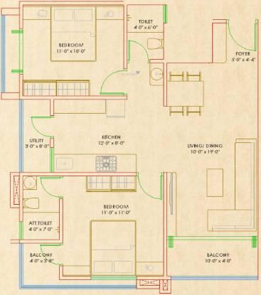Krishna Paradise (2BHK+2T (641.42 sq ft) Apartment 641.42 sq ft)