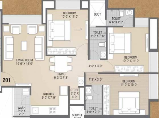 Flora Iris (3BHK+3T (776.29 sq ft) Apartment 776.29 sq ft)