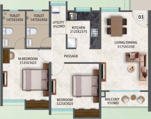 Pegasus Megapolis Serenity A8 To A12 B2 And Conv Shop B (2BHK+2T (637.22 sq ft) Apartment 637.22 sq ft)