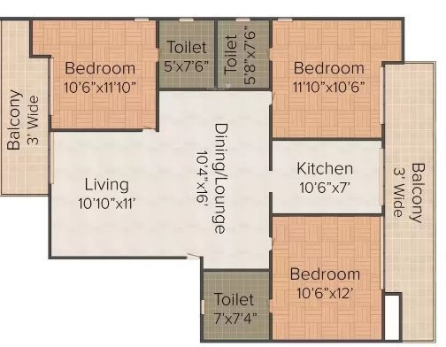 Pruthi Luxury Home (3BHK+3T (1,040 sq ft) Apartment 1040 sq ft)