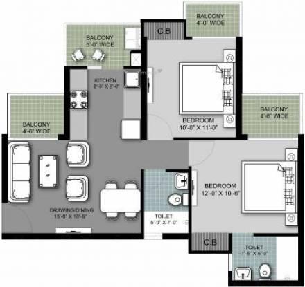 Arihant Armeria (2BHK+2T (1,045 sq ft) Apartment 1045 sq ft)