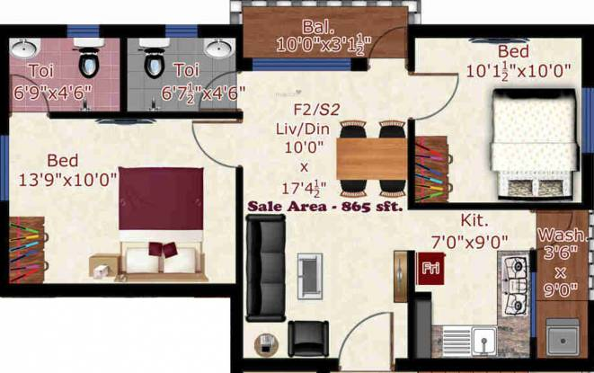 GK Mayfair (2BHK+2T (865 sq ft) Apartment 865 sq ft)
