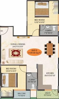 PJC PBR Meadows (2BHK+2T (1,139 sq ft) Apartment 1139 sq ft)