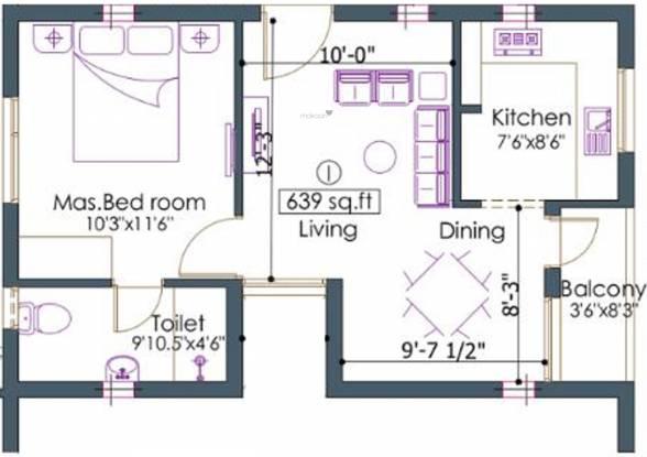 Shreyes Chakra Saraswathy (1BHK+1T (639 sq ft) Apartment 639 sq ft)